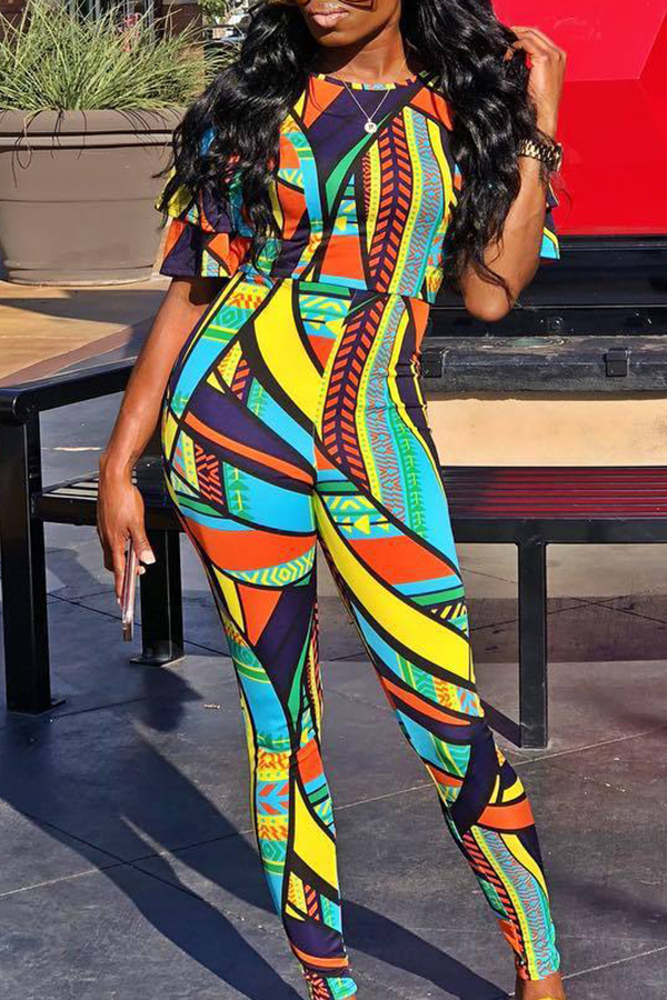Lovely Bohemian Printed Skinny Blue One-piece Jumpsuit