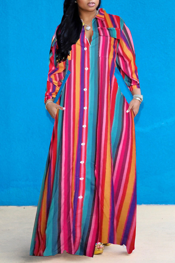 Lovely Casual Striped Loose Multicolor Ankle Length Dress