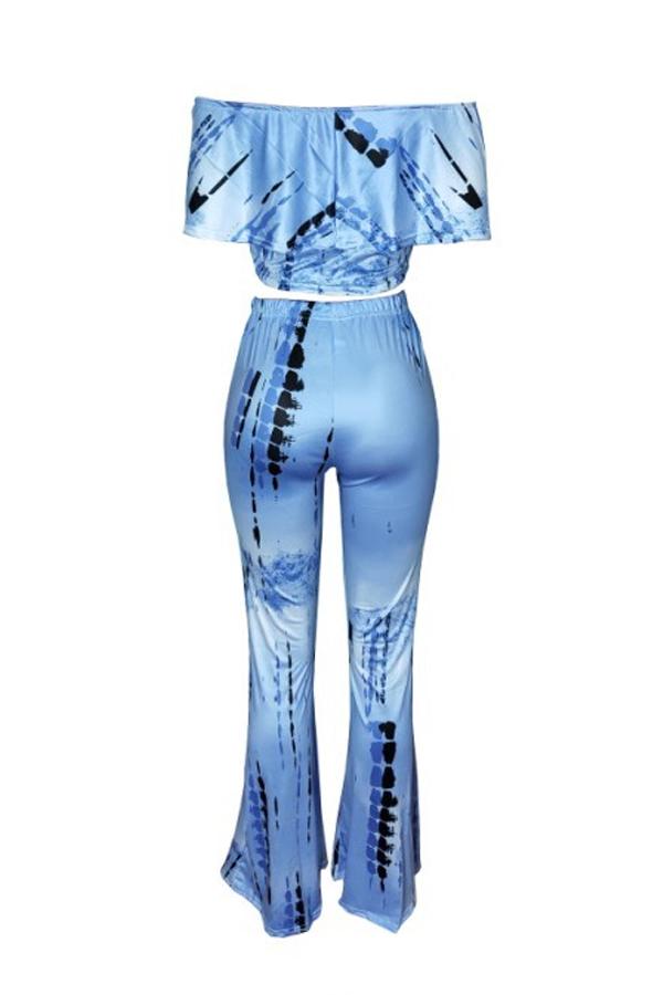 Lovely Sweet Dew Shoulder  Blue Two-piece Pants Set