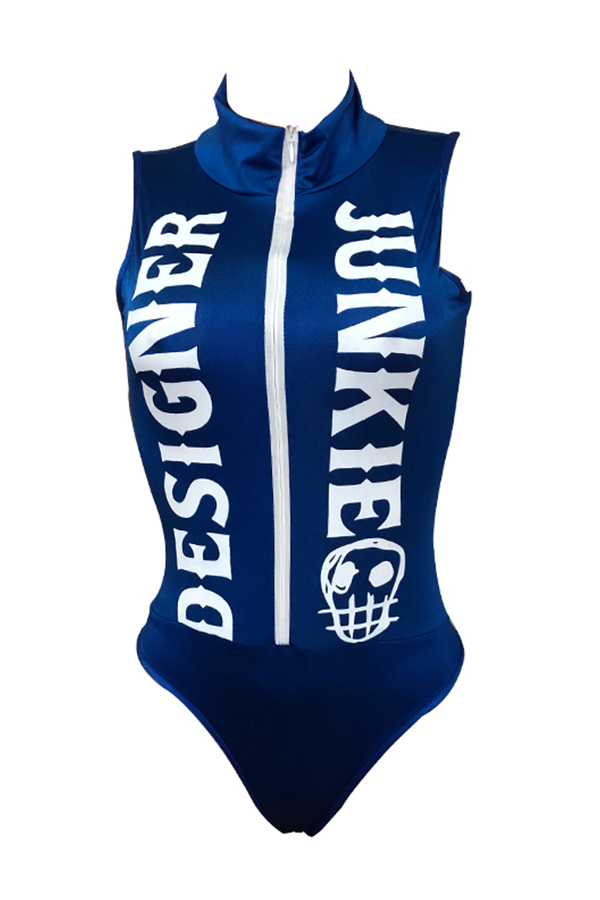 Lovely Trendy Letters Printed Blue One-piece Swimwears