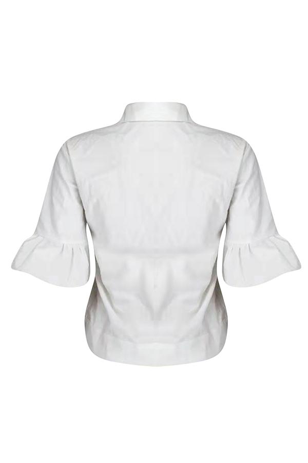 Reizende Beiläufige Kurze Weiße Jacke Der Lotosblatt-Ärmel