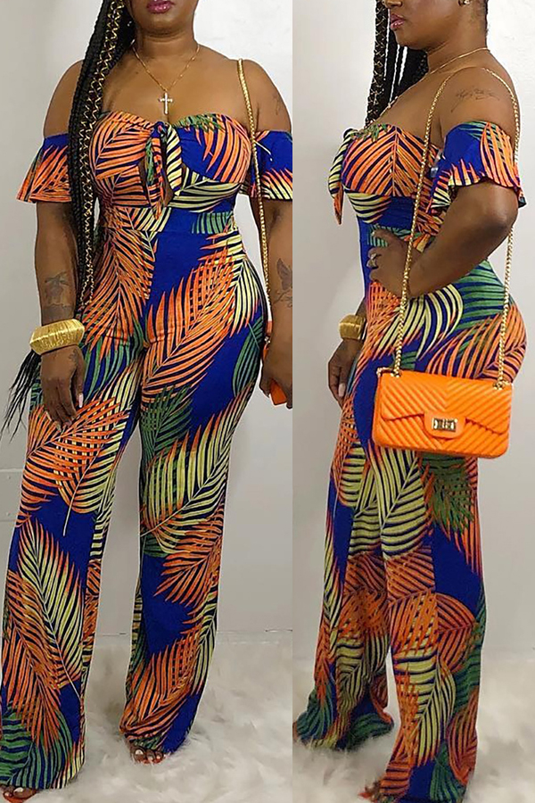Lovely Bohemian Floral Printed Orange One-piece Jumpsuit
