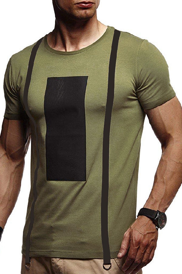 Lovely Casual Geometric Printed Army Green Cotton T-shirt