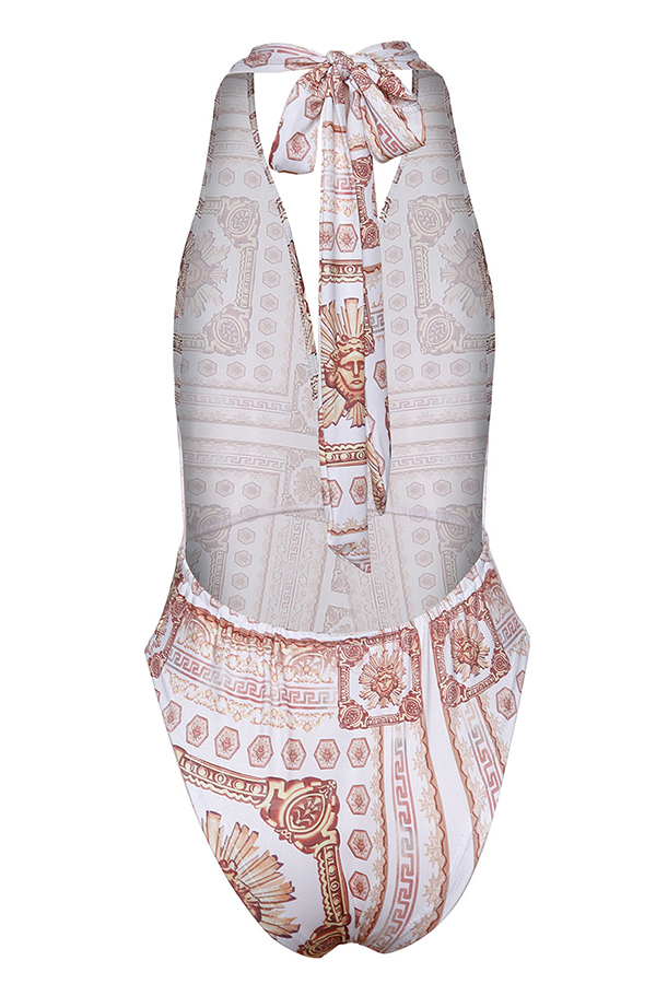 Lovely Casual Printed White One-piece Swimwears (With Cover-Ups)