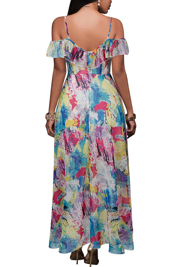 Lovely Trendy Printed Flounce Design Multicolor Ankle Length Dress