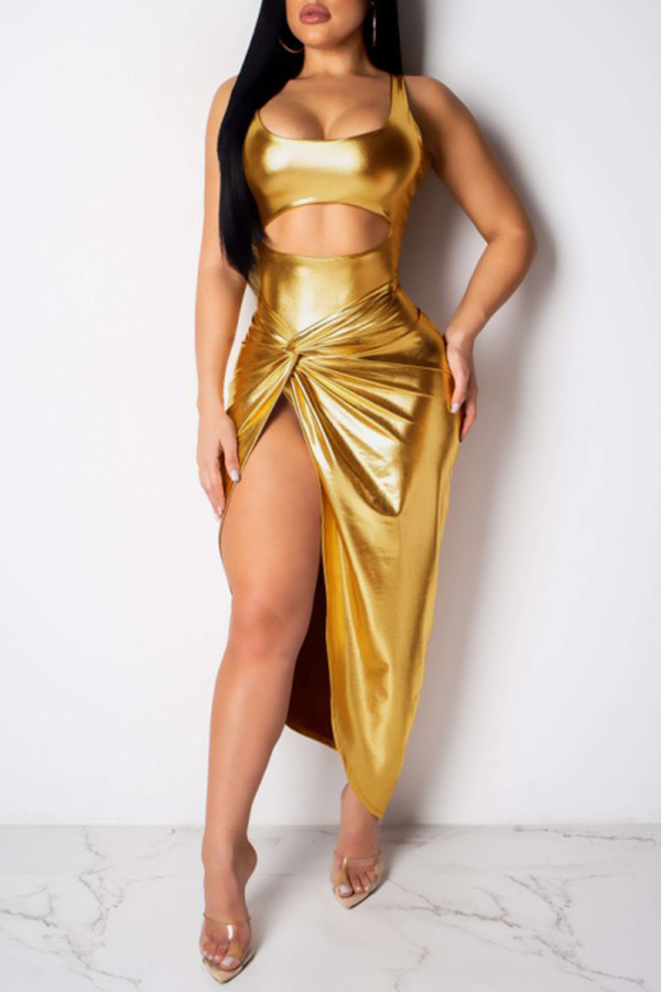 Lovely Sexy Sleeveless Side High Slit Gold Two-piece Skirt Set