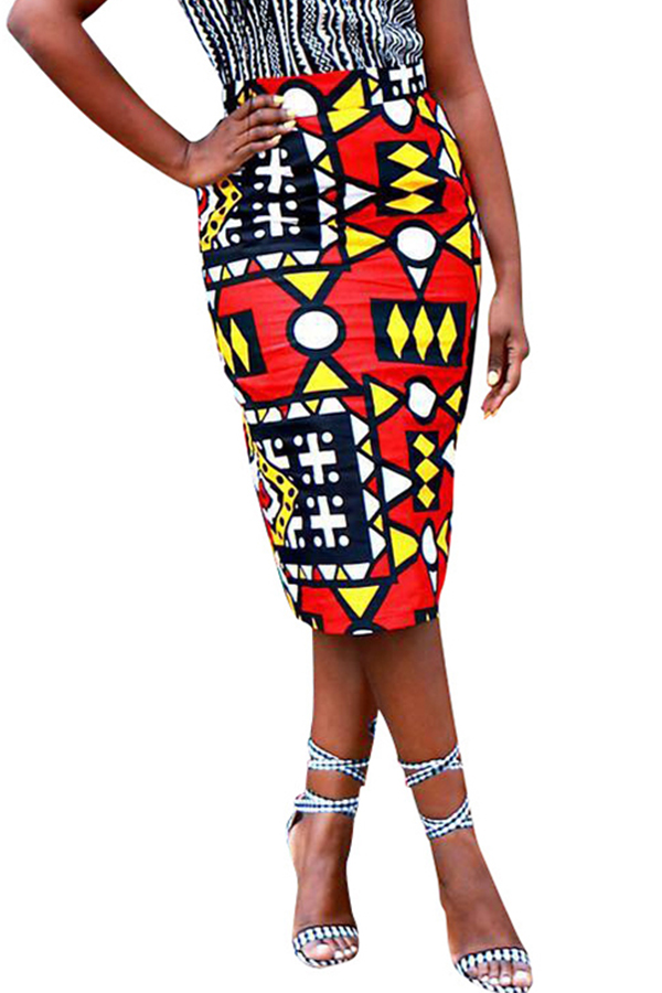 Lovely Casual Geometric Printed  Red Twilled Satin Mid Calf Skirts