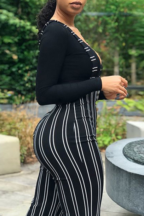 Lovely Casual Striped Black One-piece Jumpsuit(Without T-shirt)