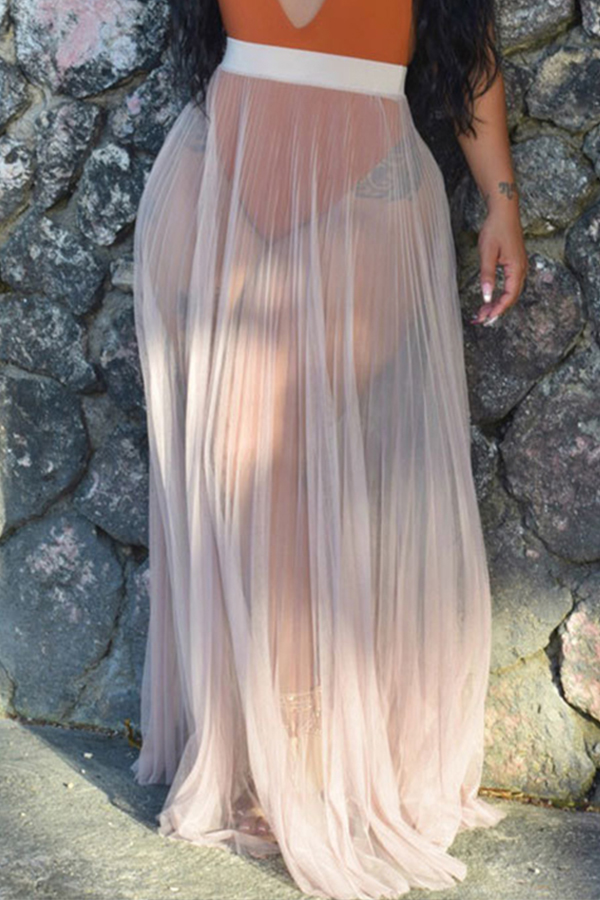 Lovely Trendy Loose Skin Color Skirt Cover-up