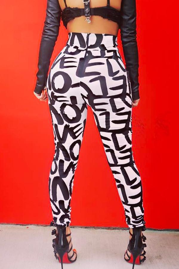 Lovely Trendy Printed Skinny White Pants