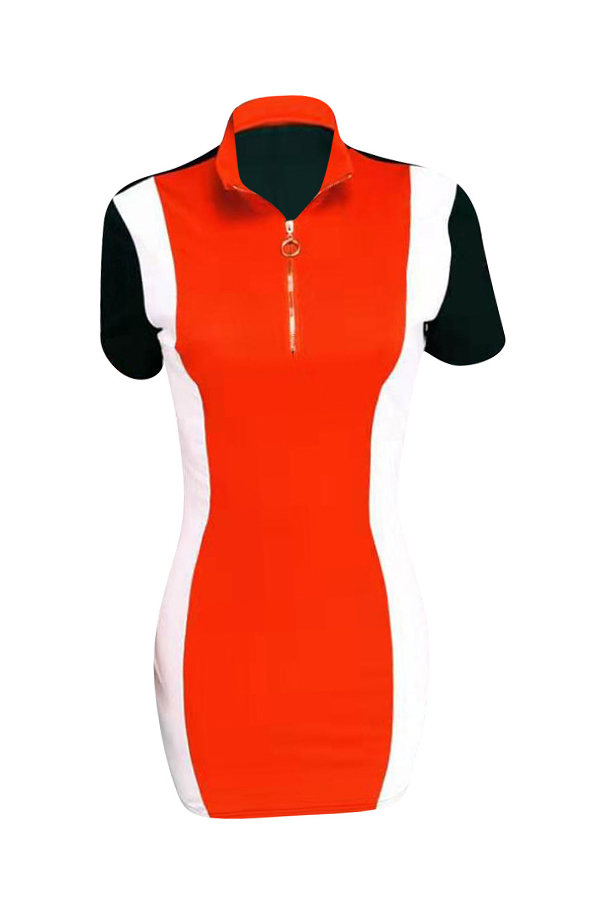 Lovely Casual Patchwork Red Twilled Satin Mini Dress