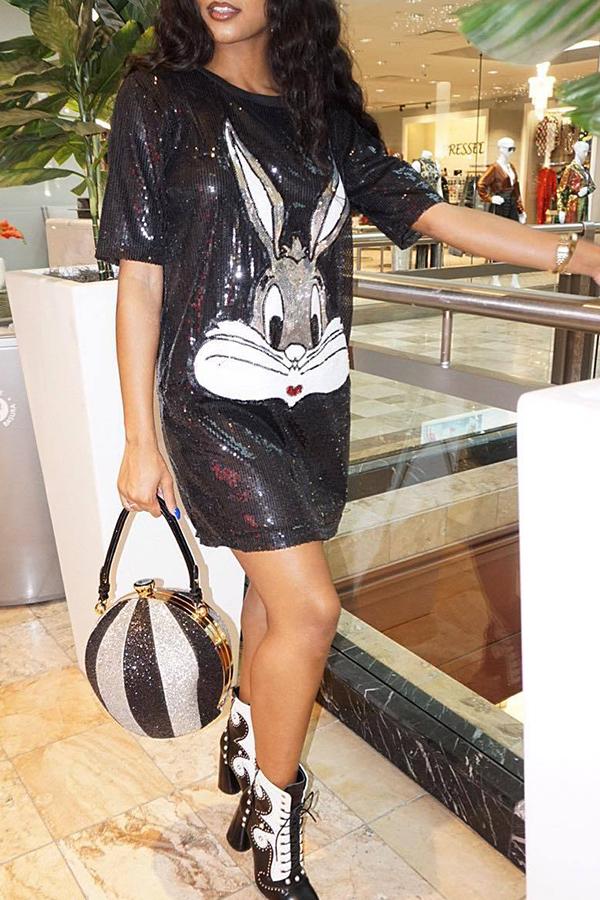 Lovely Women s Rabbit Print Mini Dress