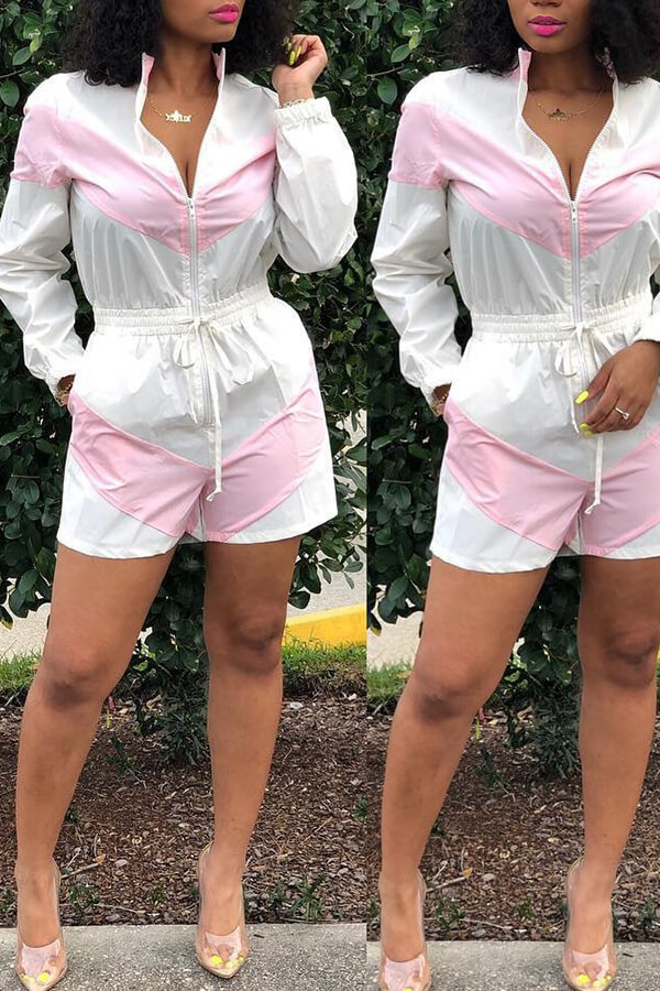Lovely Casual Zipper Design Rompers(With Elastic)