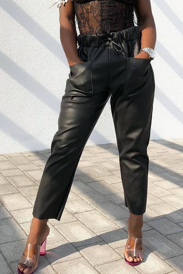 Lovely Fashion Mid Waist Black Elastic Pants