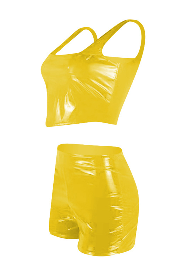 Lovely Sexy Yellow PU Two-piece Shorts Set