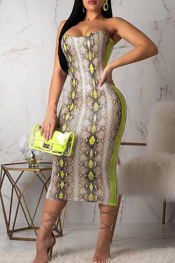 Lovely Trendy Strapless Shoulder Snakeskin Pattern Yellow  Dress