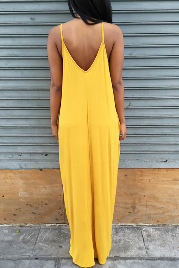 Lovely Casual V Neck Asymmetrical Yellow Blending Floor Length Dress