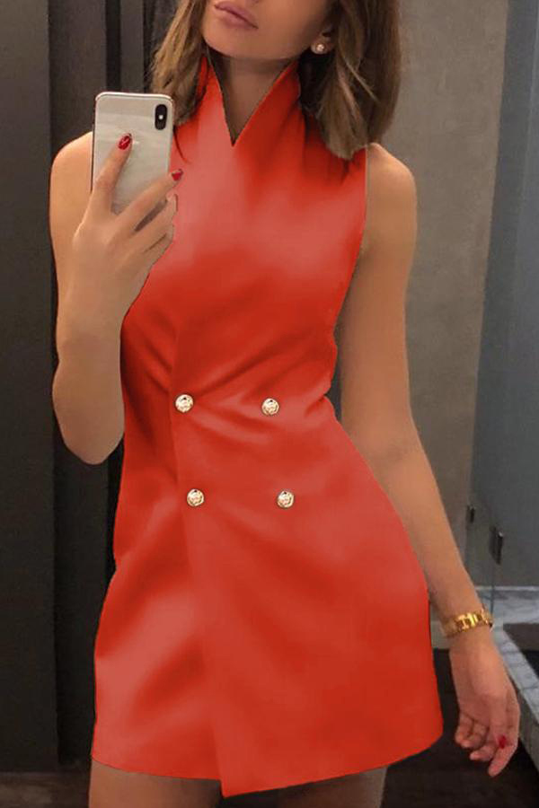 Lovely Stylish Double Breasted Design Orange Mini Dress(With Elastic)