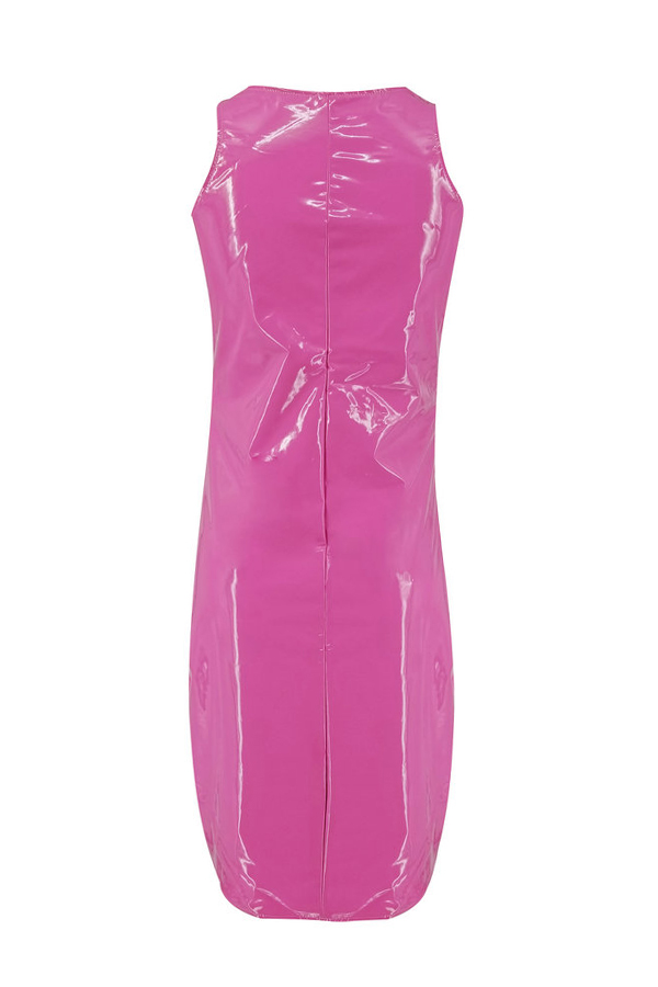 Lovely Sexy U Neck Sleeveless Pink Knee Length Dress