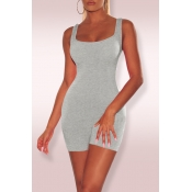 Lovely Casual Sleeveless Skinny Grey One-piece Romper