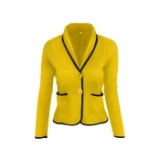 Lovely Work Buttons Short Yellow Coat