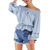 Lovely Sweet Flounce Design Blue Chiffon Shirts