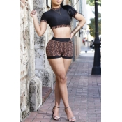 Lovely Casual Printed Black Knitting Two-piece Sho