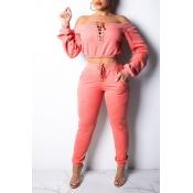 Lovely Work Drawstring Light Pink Two-piece Pants Set