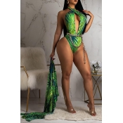 Lovely Trendy Floral Printed Green One-piece Swimw
