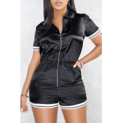 Lovely Casual Zipper Design Black One-piece Rompers