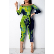 Lovely Casual Printed Green Twilled Satin One-piece Jumpsuit