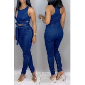 Lovely Casual Hollowed-out Deep Blue Denim One-pie