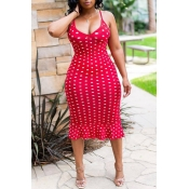 Lovely Sweet Dots Printed  Red Trumpet Mermaid  Dress