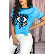 Lovely Casual Sequined Sky Blue T-shirt