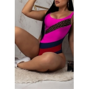 Lovely Sexy Letters Printed Rose Red  One-piece Swimwear