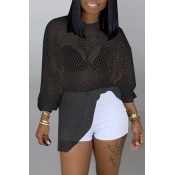 Lovely Casual Hollowed-out Black Blouses
