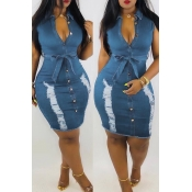 Lovely Pre-sale Broken Holes Lace-up Baby Blue Den