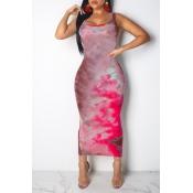 Lovely Casual Printed Skinny Red Blending Ankle Length Dress