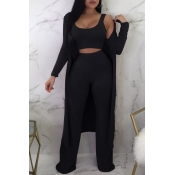 Lovely Casual U Neck Loose Black Two-piece Pants Set (With Coat)