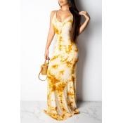 Lindo Doce Sem Encosto Amarelo Comprimento Do Chão Impresso Vestido
