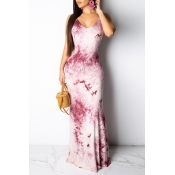 Lovely Sweet Backless Purple Floor Length Printed Dress