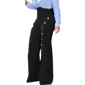 Lovely Trendy Buttons Decorative Loose Black Pants