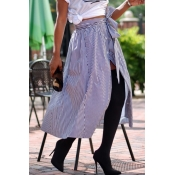 Lovely Casual Striped Blue Ankle Length Skirts