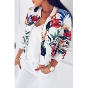 Lovely Casual Floral Printed White Lace Jacket