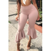 Lovely Casual Flounce Design Light Pink Twilled Sa