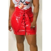 Lovely Casual Buttons Red PU Mini Skirts