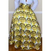 Lovely Casual Printed Loose Yellow Floor Length Sk
