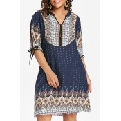 Lovely Plus-size Dots Printed Loose Dark Blue Mini Dress