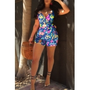 Lovely Bohemian Floral Printed Blue One-piece Romper