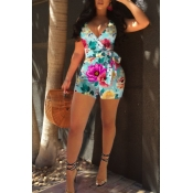 Lovely Bohemian Floral Printed Cyan One-piece Romper
